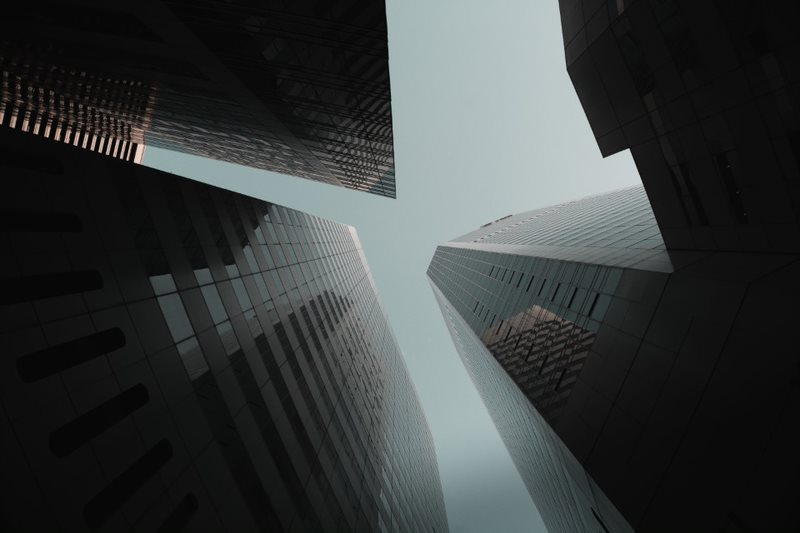 tall buildings from below