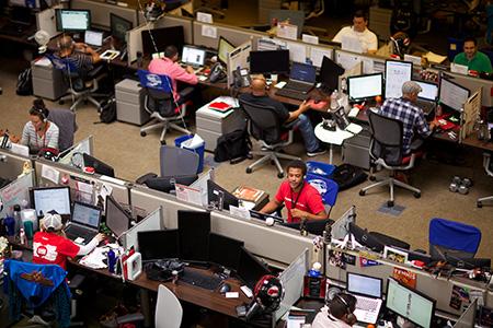 Rackers Working at Desks