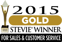 2015 Gold Stevie Winner for Sales & Customer Service