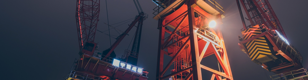 large crane operating at night time