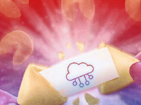Fortune cookie with cloud image on the message
